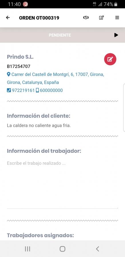 Orden de trabajo App Móvil (Información)